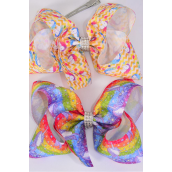 "Hair Bow Jumbo Unicorn 2 Style Mix Grosgrain Bow-tie/DZ **Alligator Clip** Size-6""x 5"" Wide,6 Of Each Pattern Asst,Clip Strip & UPC Code"