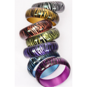"Bangle Acrylic Cat-eye Zebra Print Fall/DZ **Fall** Size-2.75""x 1"",2 Pink,2 Blue,2 Purple,2 Gold,2 Silver,1 Lime,1 Peach,7 Color mix,Hang tag & Opp bag & UPC Code"