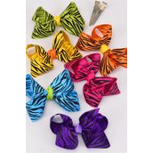 "Hair Bow Zebra Print Grosgrain Bow-tie Multi/DZ **Multi** Alligator Clip,Size-4""x 3"" Wide,2 of each Color Asst,Clip Strip & UPC Code"
