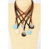 Necklace Leather Feel Infinity Symbol Semiprecious Pendant/DZ Necklace **Adjustable** 2 of each Color Asst,Hang Tag & OPP Bag & UPC Code