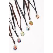 Leather Necklace Jesus & Maria Pendant/DZ **Adjustable** Unisex,6 Black & 6 Brown Leather Mix,2 of each Pattern Asst,Hang Tag & OPP Bag & UPC Code -