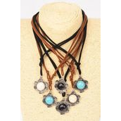 Necklace Leather Feel Round Pendant Semiprecious Pendant Semiprecious Stone/DZ Necklace **Adjustable** 2 of each Color Asst,Hang Tag & OPP Bag & UPC Code