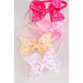 "Headbnd Horseshoe Pink Ribbons Grosgrain Bowtie/DZ Size-6""x 6"" Wide, 4 Hot Pink, 4 Baby Pink, 2 Beige, 2 White Asst,Individual Hang Tag & UPC Code, Clear Box"