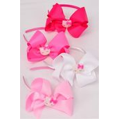 "Headband Horseshoe Jumbo Kitty Charm Grosgrain Bow-tie Pink Mix/DZ **Pink Mix** Bow Size-6""x 5"" Wide,3 White,3 Pearl Pink,3 Hot Pink,3 Fuchsia Color Asst,Display Card & UPC Code,Clear Box"