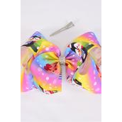 "Hair Bow Extra Jumbo Cheer Type Bow Xmas  Rainbow Snow Day Grosgrain Bow-tie/DZ **Alligator Clip** Size-8""x 7"" Wide,Clip Strip & UPC Code"