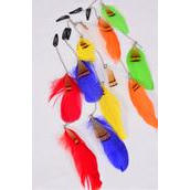 """Feather Hair Extensions Multi/DZ/DZ **Multi** Size-10"""" Long,2 of each Color Asst,Display Card & OPP bag & UPC Code -"""