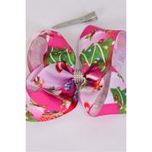 "Hair Bow Jumbo XMAS Grosgrain Bowtie/DZ **Alligator Clip** Size-6""x 5"" Wide,Clip Strip & UPC Code"