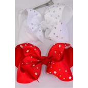 "Hair Bow Jumbo Bow Pearl Iridescent Studded Grosgrain Bowtie Red White Mix/DZ **Red & White** Alligator Clip** Size-6""x 5"" Wide,6 White,6 Red Color Asst,Clip Strip & UPC Code"