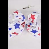 "Hair Bow Jumbo Patriotic-Stars Grosgrain Bow-tie/DZ **Alligator Clip** Size-6""x 5"" Wide,4 of each Color Asst,Clip Strip & UPC Code"