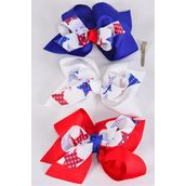 "Hair Bow Jumbo Double Layered Bow Patriotic-Star Grosgrain Bow-tie/DZ **Alligator Clip** Size-6""x 6"" Wide,4 of each Pattern Asst,Clip Strip & UPC Code"
