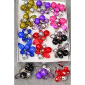 "Rings Acrylic Ball & Silver Ball Mix Charms/DZ **Adjustable** With-1.5"" wide,2 of each Color Asst,Velvet Ring Display Window Box,OPP bag & UPC Code -"
