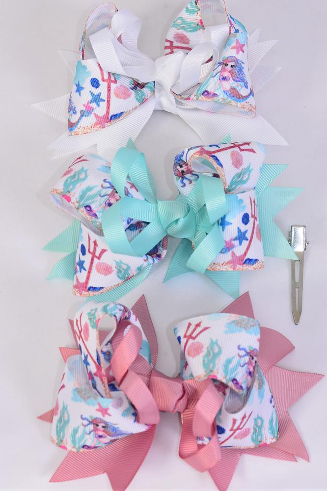 "Hair Bow Jumbo Triple Layered Mermaid Grosgrain Bow-tie/DZ **Pastel** Alligator Clip,Size-6""x 5"" Wide,4 Of each Color Asst,Clip Strip & UPC Code"