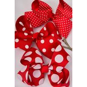 "Hair Bow Jumbo Red Polka-dots Mix Grosgrain Bow-tie/DZ **Red Polka-dot Mix** Alligator Clip,Size-6""x 5"" Wide,4 of each Pattern Mix,Clip Strip & UPC Code-"