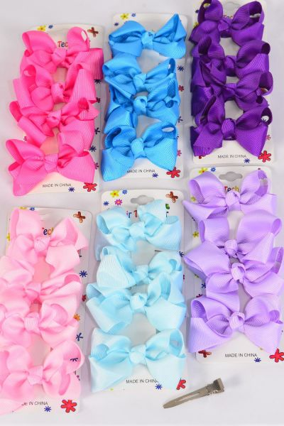 "Hair Bows 48 pcs Grosgrain Bowtie Spring Mix/DZ **Spring Mix** Alligator Clip,Bow Size-3""x 2"" Wide,2 of each Color Asst,4 pcs per card,12 card=Dozen"