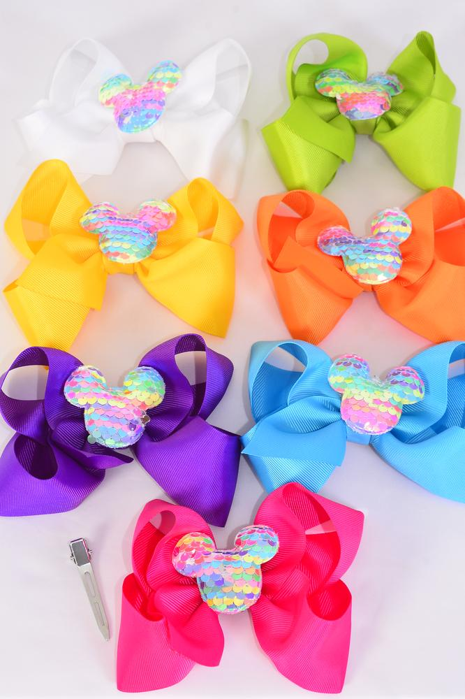 "Hair Bow Jumbo Center Flip Sequins Mouse Ear Citrus Grosgrain Bow/DZ **Citrus** Size-6""x 5"" Wide,Alligator Clip,2 Fuchsia,2 Turquoise,2 White,2 Purple,2 Yellow,1 Orange,1 Lime,7 Color Asst,Clip Strip & UPC Code"