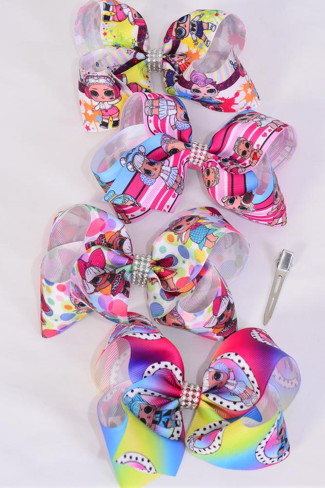 "Hair Bow Jumbo Fun Girls 4 Asst Patterns Grosgrain Bow-tie/DZ **Alligator Clip** Size-6""x 5"" Wide,3 of each Pattern Asst,Clip Strip & UPC Code"