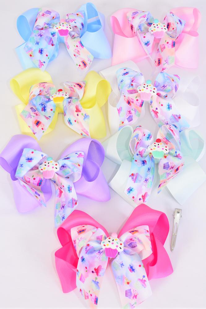 "Hair Bow Jumbo Double Layered Bow Center Cupcake Charm Mix Grosgrain Bow-tie Pastel/DZ **Pastel** Size-6""x 6"" Wide,Alligator Clip,2 White,2 Baby Pink,2 Lavender,2 Hot Pink,2 Mint Green,1 Blue,1 Yellow,7 Color Asst,Clip Strip & UPC Code"