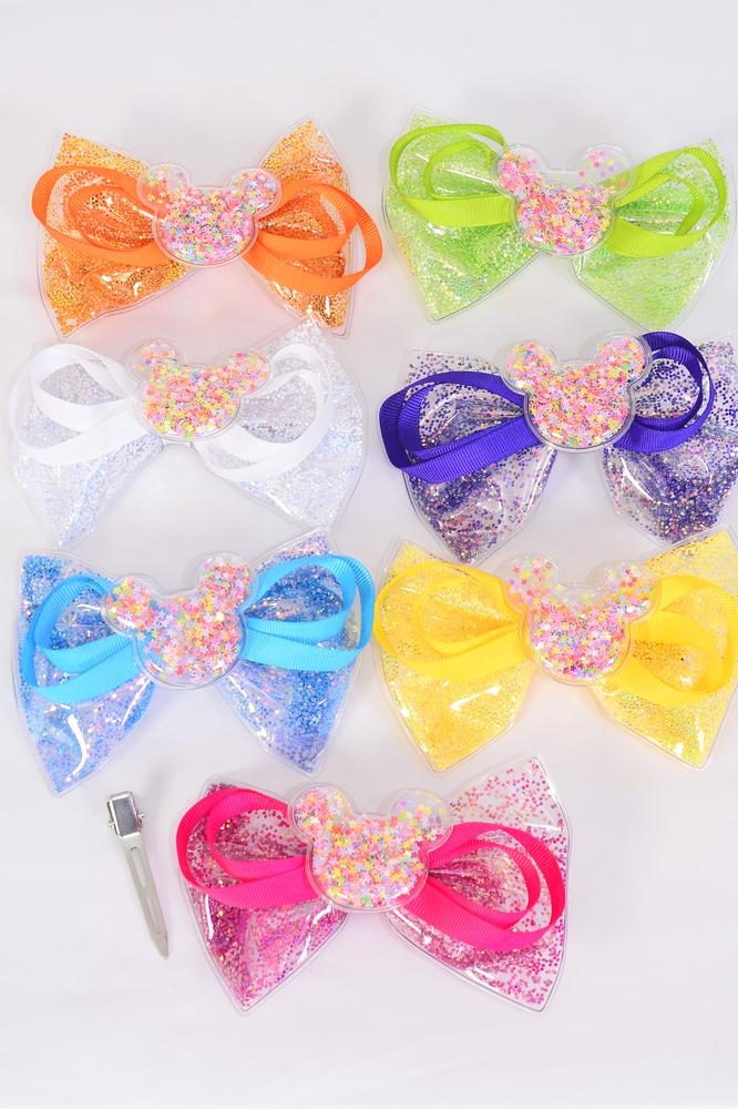 "Hair Bow Large Vinyl Glitter Center Mouse Ear Charm Multi Grosgrain Bow-tie/DZ **Multi** Size-6"" x 4"",Alligator Clip,2 White,2 Yellow,2 Blue,2 Fuchsia,2 Purple,1 Orange,1 Lime,7 Color Asst,Clip Strip & UPC Code"