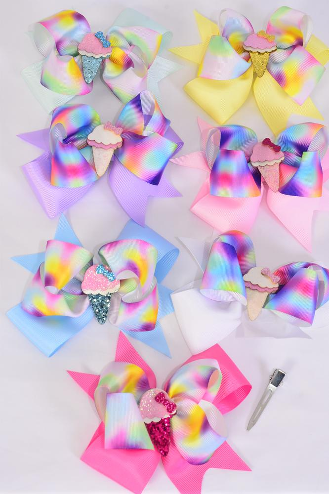 "Hair Bow Jumbo Double Layered Ice Crean Cone Grosgrain Bow-tie Pastel/DZ **Pastel** Size-6"" x 5"",Alligator Clip,2 White,2 Baby Pink,2 Lavender,2 Hot Pink,2 Mint Green,1 Blue,1 Yellow,7 Color Asst,Clip Strip & UPC Code"