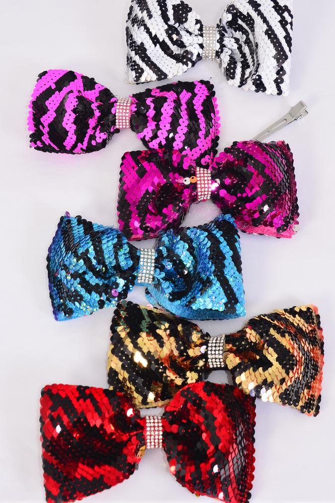 "Hair Bow Flip Sequin Jumbo Zebra Center Clear Stones/DZ **Multi** Alligator Clip,Size-6""x 4"" Wide,2 Of each Color Mix,Clip Strip & UPC Code"
