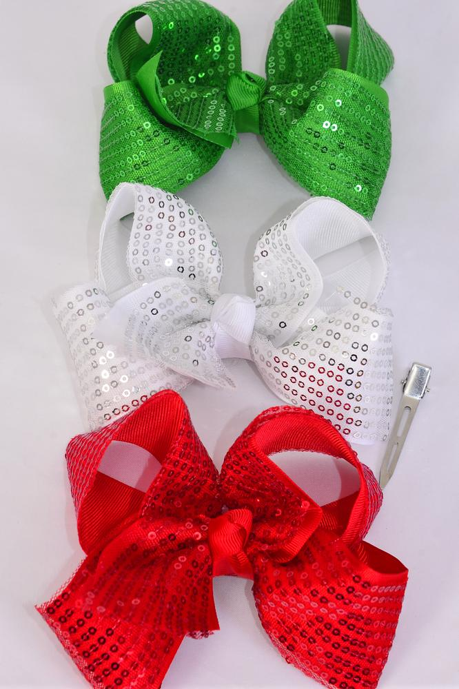 "Hair Bow Jumbo XMAS Double Layered Sequin Grosgrain Bow-tie/DZ **Alligator Clip** Size-6""x 5"" Wide,4 Of each Color Asst Asst,Clip Strip & UPC Code"