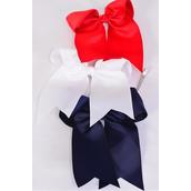 """Hair Bow Extra Jumbo Long Tail Cheer Type Bow Red White Navy Mix Alligator Clip Grosgrain Bow-tie/DZ **Alligator Clip** Size-6.5""""x 6"""" Wide,4 Red,4 White,4 Navy,3 Color Asst,Clip Strip & UPC Code"""