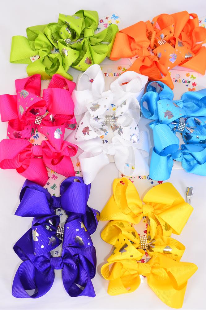 "Hair Bows Large 36 pcs Unicorn Metallic Gold Grosgrain Bowtie Citrus/DZ **Citrus** Alligator Clip,Bow Size-5""x 4"" Wide,2 White,2 Fuchsia,2 Purple,2 Yellow,2 Blue,1 Lime,1 Orange Asst,3 pcs per Card,12 Card= Dozen"