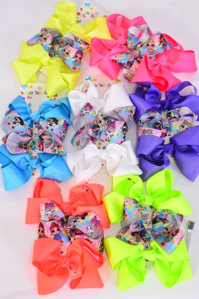 "Hair Bows Large 36 pcs Fun Girls W Dream Catcher Grosgrain Bowtie Caribbean Neon/DZ **Caribbean Neon** Alligator Clip,Size-5""x 3.5"" Wide,2 Turquoise,2 Orange,2 White,2 Pink,2 Purple,1 Yellow,1 Lime Asst,3 pcs per card,12 Card= Dozen"