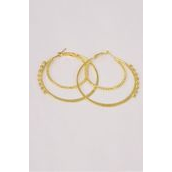 "Earrings Double Circle Clear Rhinestones Gold/DZ **Gold** Post,Size-2.25"" Wide,Earring Card & OPP bag & UPC Code"
