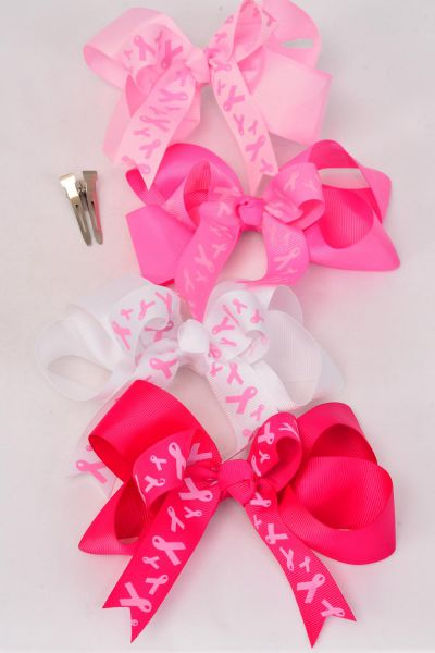 "Hair Bow Jumbo Double Layered Pink Ribbon Grosgrain Bow-tie/DZ **Alligator Clip** Size-6""x 5"" Wide,3 of each Color Asst,Clip Strip & UPC Code"