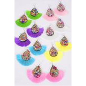 "Earrings Fringe Tassels Teardrop Pastel/DZ **Fish Hook** Size-3""x 2.5"" Wide,2 Hot Pink,2 Blue,2 Pink,2 White, 2 Lavender,1 Yellow,1 Green Mix,Earring Card & OPP Bag & UPC Code"