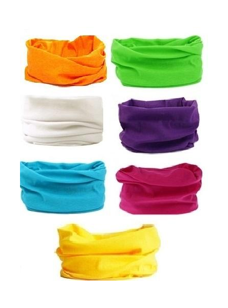 "Multifunction Scarf Face Mask Multi/DZ **Unisex** Multi,Size-20"" x 9 1/2"" Wide,2 Fuchsia,2 Blue,2 White,2 Purple,2 Yellow,1 Orange,1 Lime,7 Color Asst,Hang tag & OPP bag & UPC Code"