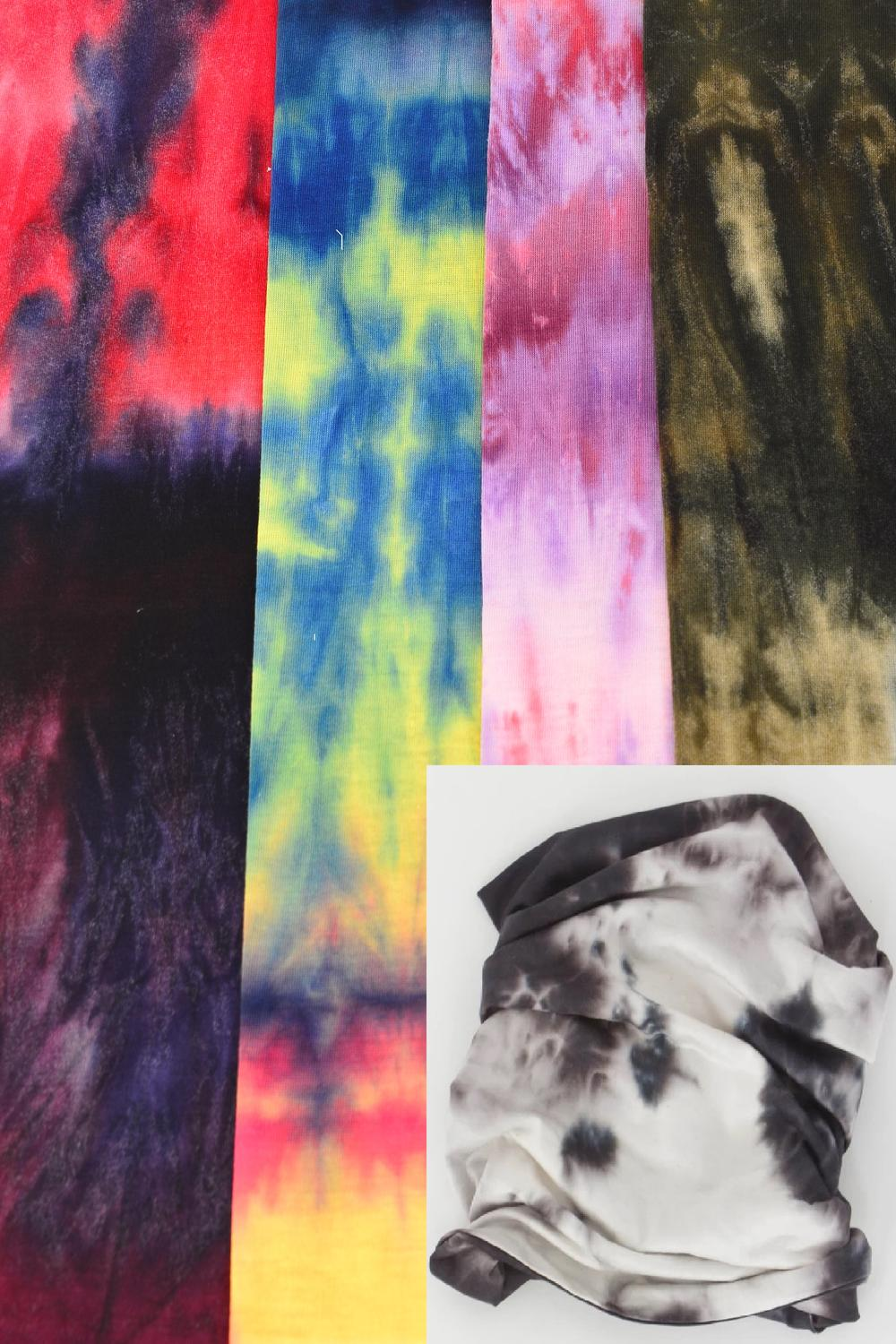 "Multi Functional Scarf Face Mask Gradient Tiedye/DZ **Unisex** Size-20"" x 9 1/2"" Wide,3 of each Pattern Asst,Hang tag & OPP bag & UPC Code"