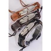 Bracelet Real Leather Silver Feather Symbol/DZ **Unisex** Adjustable,4 of each Color Asst,Hang Tag & OPP Bag & UPC Code