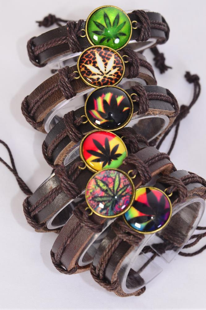 Bracelet Real Brown Leather Band Glass Dome Cannabis Leaf/DZ **Unisex** Adjustable,2 of each Color Asst,Individual Hang tag & OPP Bag & UPC Code