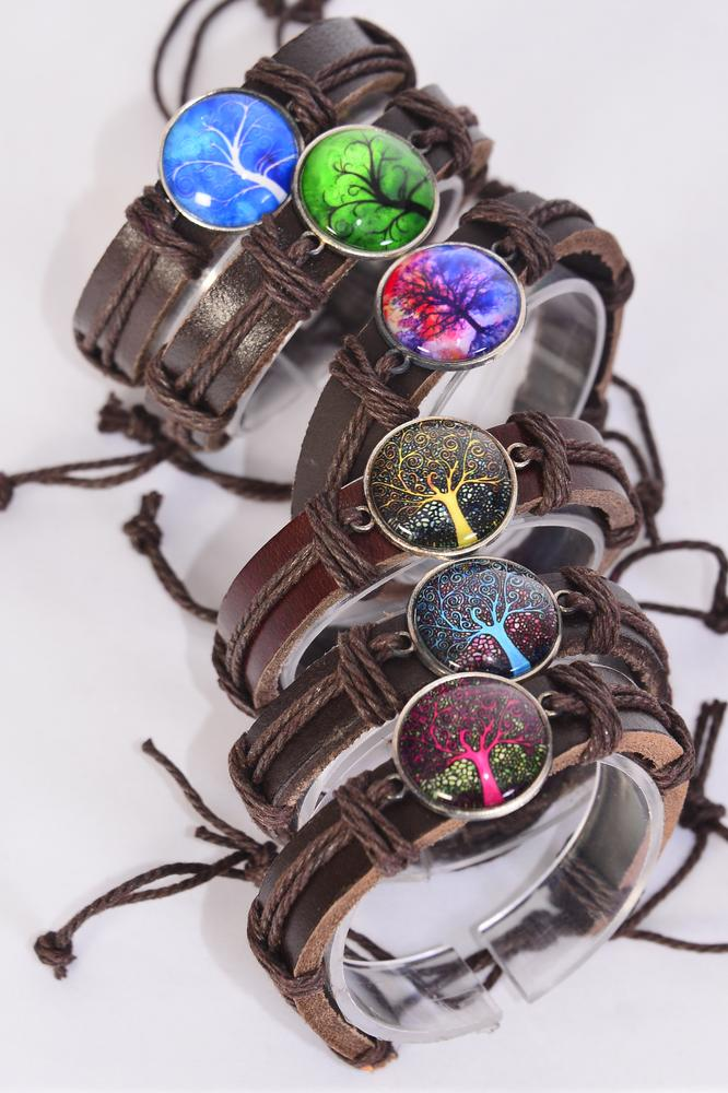 Bracelet Real Brown Leather Band Glass Dome Tree of Life/DZ **Unisex** Adjustable,2 of each Color Asst,Individual Hang tag & OPP Bag & UPC Code