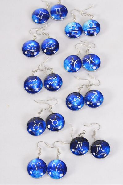 "Earrings Zodiac Double Sided Glass Dome Blue/DZ **Fish Hook** Size-0.75"" Wide,12 Month Asst,Earring Card & OPP Bag & UPC Code"
