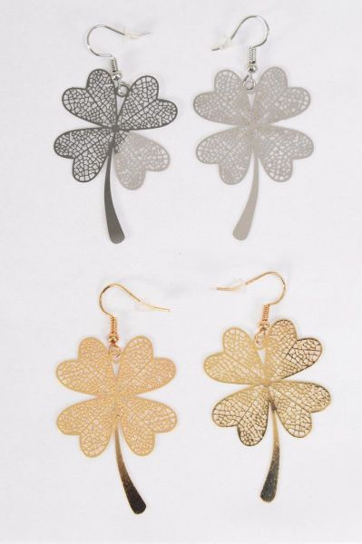 "Earrings Laser Cut Stainless Steel Shamrock Gold Silver Mix/DZ **Fish Hook** Size-1.75""x 1.25"" Wide,6 Silver & 6 Gold Mix,Earring Card & OPP bag & UPC Code"