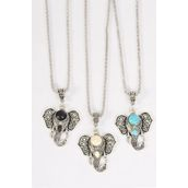 """Necklace Silver Chain Metal Antique Metal Elephant Head Pendant Semiprecious Stone/DZ match 03097 Pendant-1.75x 1.5"""" Wide,Chain-18"""" Extension Chain,4 Ivory,4 Black,4 Turquoise Asst,Hang Tag & OPP Bag & UPC Code"""