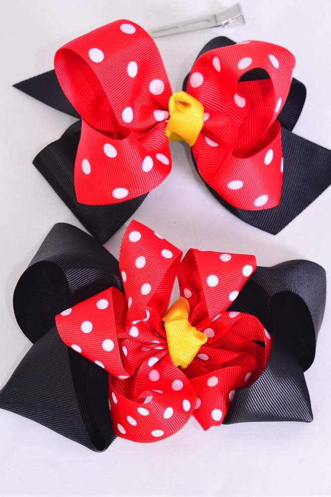 "Hair Bow Jumbo Double Layered Polka-dot Grosgrain Bow-tie/DZ **Alligator Clip** Size-6""x 6"" Wide,6 Of Each Pattern Asst,Clip Strip & UPC Code"