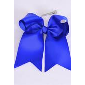 "Hair Bow Extra Jumbo Long Tail Cheer Type Bow Royal Blue Grosgrain Bow-tie/DZ **Royal Blue** Alligator Clip,Size-7""x 6"" Wide,Clip Strip & UPC Code"
