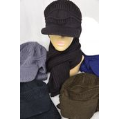 "Scarf & Visor Hat Sets Multi 12 Sets/DZ **Multi** Scarf Size-60"" Long,4 Black,2 White,2 Brown,2 Olive,2 Navy,5 Color Asst,OPP Bag & UPC Code"