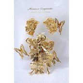 "Xmas Gold Pin/Pendant & Earring Sets Bells French Post/Sets Size-Brooch 2""x 1.5"", Earring 1""x 0.75"" Wide,Display Card & OPP Bag & UPC Code,Choose Gold or Silver Finish,Also Use For Pendant"