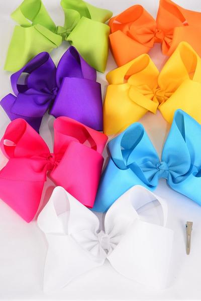 "Hair Bow Jumbo Citrus Alligator Clip 6""x 5"" Grosgrain Bow-tie/DZ **Citrus** Size-6""x 5"" Wide,Alligator Clip,2 Fuchsia,2 Blue,2 White,2 Purple,2 Yellow,1 Orange,1 Lime,7 Color Asst,Clip Strip & UPC Code"