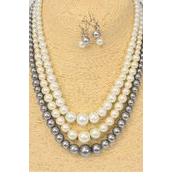 """Necklace Sets Graduated From 12 mm Glass Pearl Natural/DZ **Natural** 20"""" Long,4 white,4 Cream,4 Gray,3 Color Mix,Hang Tag & Opp bag & UPC Code-"""