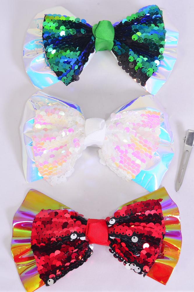 "Hair Bow Jumbo XMAS Flip Sequin Iridescent Bow tie Red White Green Mix Grosgrain Bow-tie/DZ **Alligator Clip** Size-6""x 5"" Wide,4 of each Color Asst,Clip Strip & UPC Code."