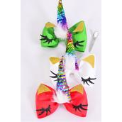 "Hair Bow Jumbo XMAS Unicorn Flip Sequin Grosgrain Bow-tie/DZ **XMAS* Bow Size-6""x 5"",Alligator Clip,4 of each Color Asst,Clip Strip & UPC Code"