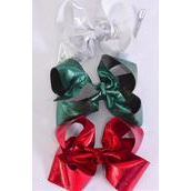 "Hair Bow Jumbo XMAS Metallic Grosgrain Bow-tie Red Silver Green Mix/DZ **Alligator Clip** Size-6""x5"" Wide,4 Of each Color Mix,Hang Tag & UPC Code"