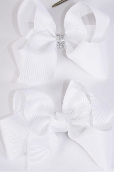 "Hair Bow Jumbo White Alligator Clip 6""x 5"" Grosgrain Bow-tie/DZ **White** Size-6""x 5"" Wide,Alligator Clip,6 Of each Pattern Asst,Clip Strip & UPC Code"