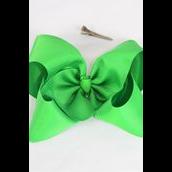 "Hair Bow Cheer Type Bow Kelly or Irish Green Grosgrain Bow-tie/DZ **Kelly Green** Size-8""x 7"" Wide,Alligator Clip,Clip Strip & UPC Code"